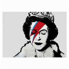 Banksy Graffiti Uk England God Save The Queen Elisabeth With David Bowie Rockband Face Makeup Ziggy Stardust Large Glasses Cloth (2 Sides) by snek