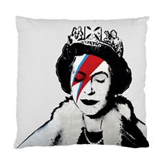 Banksy Graffiti Uk England God Save The Queen Elisabeth With David Bowie Rockband Face Makeup Ziggy Stardust Standard Cushion Case (two Sides) by snek