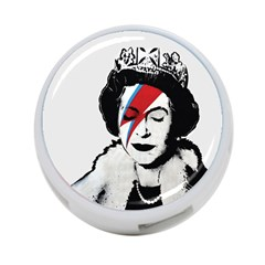 Banksy Graffiti Uk England God Save The Queen Elisabeth With David Bowie Rockband Face Makeup Ziggy Stardust 4-port Usb Hub (one Side) by snek