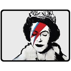 Banksy Graffiti Uk England God Save The Queen Elisabeth With David Bowie Rockband Face Makeup Ziggy Stardust Fleece Blanket (large)  by snek