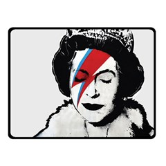 Banksy Graffiti Uk England God Save The Queen Elisabeth With David Bowie Rockband Face Makeup Ziggy Stardust Fleece Blanket (small) by snek