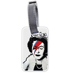 Banksy Graffiti Uk England God Save The Queen Elisabeth With David Bowie Rockband Face Makeup Ziggy Stardust Luggage Tag (two Sides) by snek