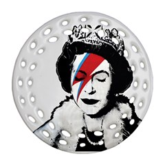 Banksy Graffiti Uk England God Save The Queen Elisabeth With David Bowie Rockband Face Makeup Ziggy Stardust Round Filigree Ornament (two Sides) by snek