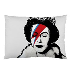 Banksy Graffiti Uk England God Save The Queen Elisabeth With David Bowie Rockband Face Makeup Ziggy Stardust Pillow Case (two Sides) by snek
