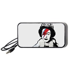 Banksy Graffiti Uk England God Save The Queen Elisabeth With David Bowie Rockband Face Makeup Ziggy Stardust Portable Speaker by snek