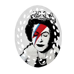 Banksy Graffiti Uk England God Save The Queen Elisabeth With David Bowie Rockband Face Makeup Ziggy Stardust Ornament (oval Filigree) by snek