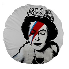 Banksy Graffiti Uk England God Save The Queen Elisabeth With David Bowie Rockband Face Makeup Ziggy Stardust Large 18  Premium Round Cushions by snek