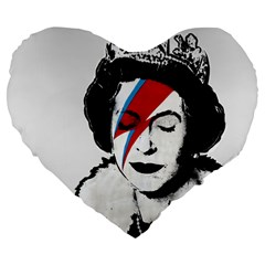 Banksy Graffiti Uk England God Save The Queen Elisabeth With David Bowie Rockband Face Makeup Ziggy Stardust Large 19  Premium Heart Shape Cushions by snek
