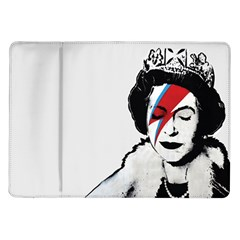 Banksy Graffiti Uk England God Save The Queen Elisabeth With David Bowie Rockband Face Makeup Ziggy Stardust Samsung Galaxy Tab 10 1  P7500 Flip Case by snek