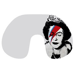 Banksy Graffiti Uk England God Save The Queen Elisabeth With David Bowie Rockband Face Makeup Ziggy Stardust Travel Neck Pillow by snek