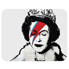 Banksy Graffiti Uk England God Save The Queen Elisabeth With David Bowie Rockband Face Makeup Ziggy Stardust Double Sided Flano Blanket (medium)  by snek