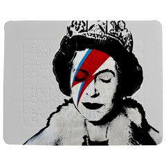 Banksy Graffiti Uk England God Save The Queen Elisabeth With David Bowie Rockband Face Makeup Ziggy Stardust Jigsaw Puzzle Photo Stand (rectangular) by snek