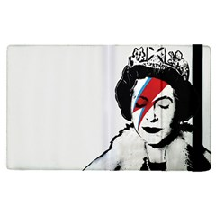 Banksy Graffiti Uk England God Save The Queen Elisabeth With David Bowie Rockband Face Makeup Ziggy Stardust Apple Ipad Pro 12 9   Flip Case by snek