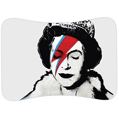 Banksy Graffiti Uk England God Save The Queen Elisabeth With David Bowie Rockband Face Makeup Ziggy Stardust Velour Seat Head Rest Cushion by snek