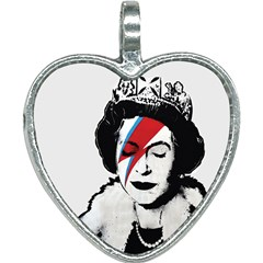 Banksy Graffiti Uk England God Save The Queen Elisabeth With David Bowie Rockband Face Makeup Ziggy Stardust Heart Necklace by snek