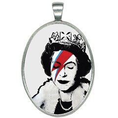 Banksy Graffiti Uk England God Save The Queen Elisabeth With David Bowie Rockband Face Makeup Ziggy Stardust Oval Necklace by snek