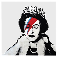 Banksy Graffiti Uk England God Save The Queen Elisabeth With David Bowie Rockband Face Makeup Ziggy Stardust Wooden Puzzle Square by snek