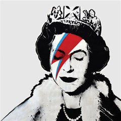 Banksy Graffiti Uk England God Save The Queen Elisabeth With David Bowie Rockband Face Makeup Ziggy Stardust Canvas 12  X 12  by snek