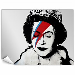 Banksy Graffiti Uk England God Save The Queen Elisabeth With David Bowie Rockband Face Makeup Ziggy Stardust Canvas 12  X 16  by snek