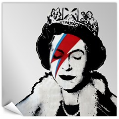 Banksy Graffiti Uk England God Save The Queen Elisabeth With David Bowie Rockband Face Makeup Ziggy Stardust Canvas 20  X 20  by snek