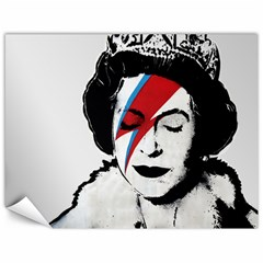 Banksy Graffiti Uk England God Save The Queen Elisabeth With David Bowie Rockband Face Makeup Ziggy Stardust Canvas 18  X 24  by snek