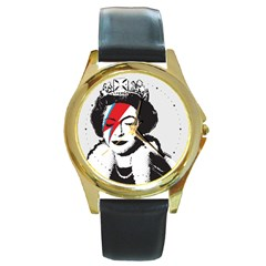 Banksy Graffiti Uk England God Save The Queen Elisabeth With David Bowie Rockband Face Makeup Ziggy Stardust Round Gold Metal Watch by snek