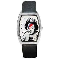 Banksy Graffiti Uk England God Save The Queen Elisabeth With David Bowie Rockband Face Makeup Ziggy Stardust Barrel Style Metal Watch by snek