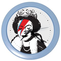 Banksy Graffiti Uk England God Save The Queen Elisabeth With David Bowie Rockband Face Makeup Ziggy Stardust Color Wall Clock by snek