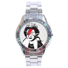 Banksy Graffiti Uk England God Save The Queen Elisabeth With David Bowie Rockband Face Makeup Ziggy Stardust Stainless Steel Analogue Watch by snek