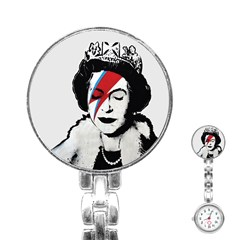Banksy Graffiti Uk England God Save The Queen Elisabeth With David Bowie Rockband Face Makeup Ziggy Stardust Stainless Steel Nurses Watch by snek