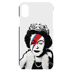 Banksy Graffiti Uk England God Save The Queen Elisabeth With David Bowie Rockband Face Makeup Ziggy Stardust Iphone X/xs Black Uv Print Case by snek