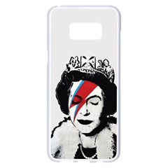 Banksy Graffiti Uk England God Save The Queen Elisabeth With David Bowie Rockband Face Makeup Ziggy Stardust Samsung Galaxy S8 Plus White Seamless Case by snek