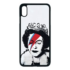 Banksy Graffiti Uk England God Save The Queen Elisabeth With David Bowie Rockband Face Makeup Ziggy Stardust Iphone Xs Max Seamless Case (black) by snek
