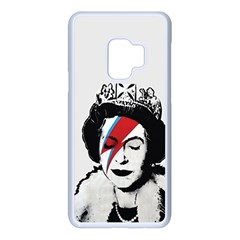Banksy Graffiti Uk England God Save The Queen Elisabeth With David Bowie Rockband Face Makeup Ziggy Stardust Samsung Galaxy S9 Seamless Case(white) by snek