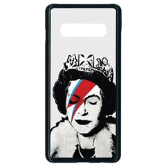Banksy Graffiti Uk England God Save The Queen Elisabeth With David Bowie Rockband Face Makeup Ziggy Stardust Samsung Galaxy S10 Plus Seamless Case (black) by snek