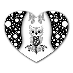Cute Little Mandala Owl Heart Mousepads by FantasyWorld7