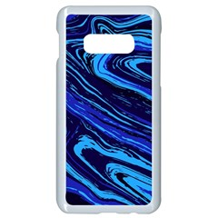 Blue Vivid Marble Pattern Samsung Galaxy S10e Seamless Case (white) by goljakoff