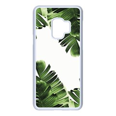 Green Tropical Leaves Samsung Galaxy S9 Seamless Case(white) by goljakoff