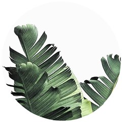 Green Banana Leaves Wooden Puzzle Round