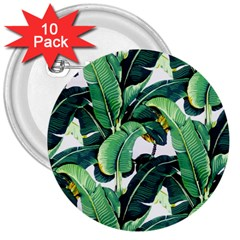 Green Banana Leaves 3  Buttons (10 Pack)  by goljakoff