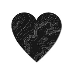 Black Topographyc Map Heart Magnet by goljakoff
