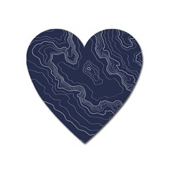 Blue Topography Map Heart Magnet by goljakoff