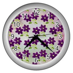 Purple Flower Wall Clock (silver)