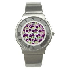 Purple Flower Stainless Steel Watch