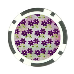 Purple Flower Poker Chip Card Guard
