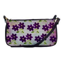 Purple Flower Shoulder Clutch Bag