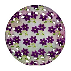 Purple Flower Round Filigree Ornament (two Sides)