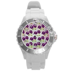 Purple Flower Round Plastic Sport Watch (l)