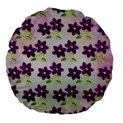 Purple Flower Large 18  Premium Flano Round Cushions