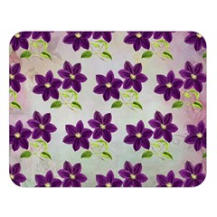 Purple Flower Double Sided Flano Blanket (large)